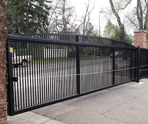 Ornamental Iron Slide Gate with Operator