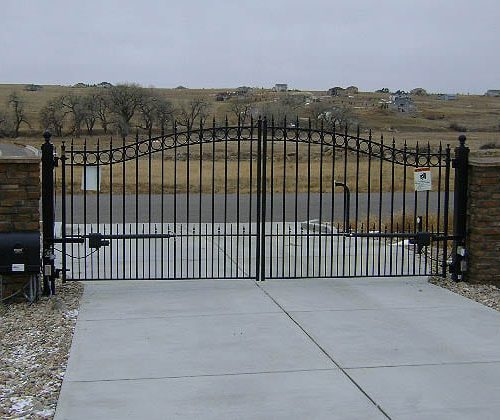 Ornamental Iron Gate with Actuator Arm Operator