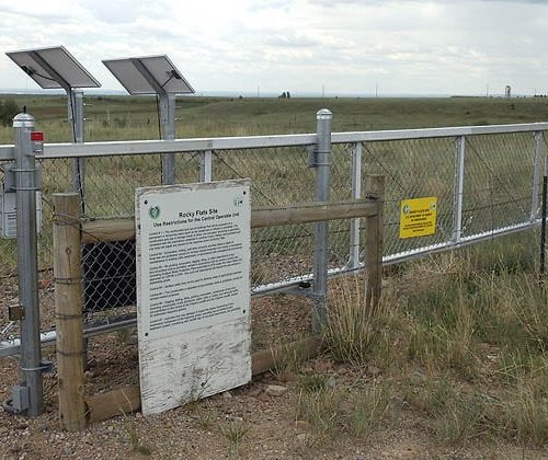 Solared Powered Wind Rated Slide Gate at Rocky Flats